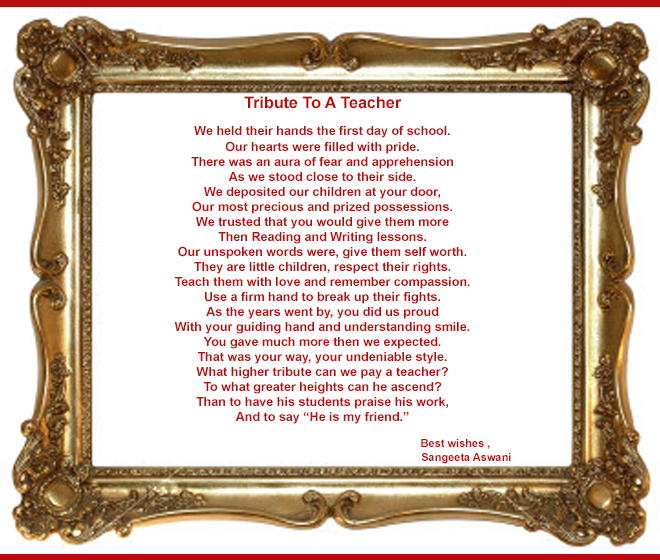 a tribute to teachers My brief remarks to you today are inspired by an extraordinary woman she was one of the great teachers who contributed richly to the tradition that made vassar known.