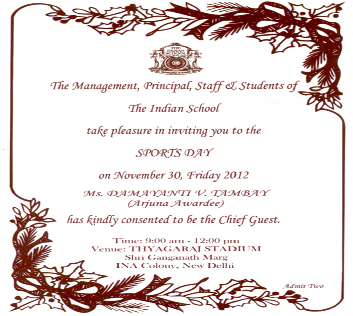 Sports Day 2012 Invitation Card The Indian School