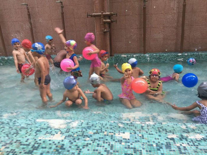Pool party in pre primary the indian school for Primary games swimming pool sid